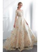 Beautiful Champagne Floral Lace Prom Dress In Colored