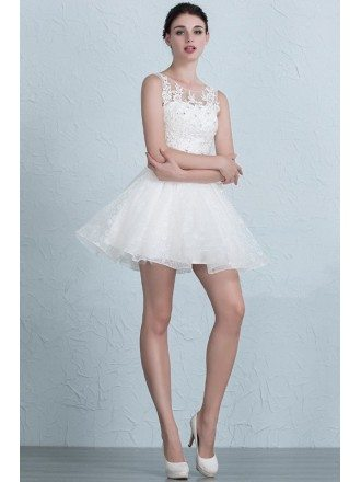 Lovely A-Line Scoop Neck Short Lace Dress With Appliques Lace