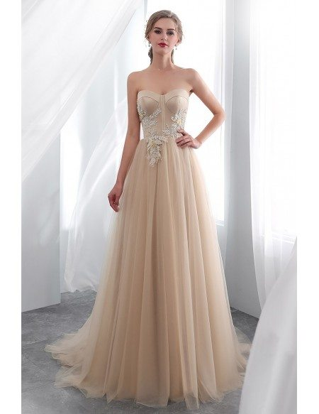 Strapless Champagne Long Tulle Lace Prom Dress With Lace