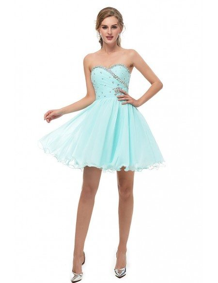 Simple Strapless Aqua Short Bridesmaid Dress With Beading