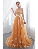 Strapless Long Gold Tulle Prom Dress With Butterfly