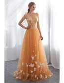 Unique Gold Long Tulle Prom Dress With Butterfly