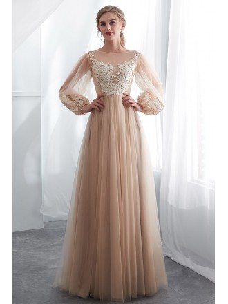 Modest Champagne Long Tulle Lace Party Dress With Fashion Sleeves