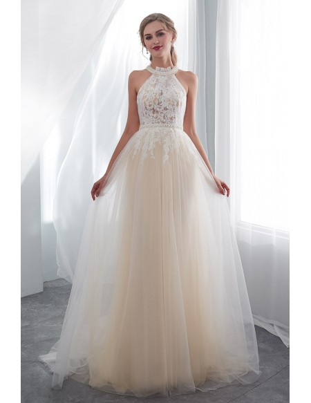 Chic Halter Champagne Long Tulle Wedding Dress With Pearls