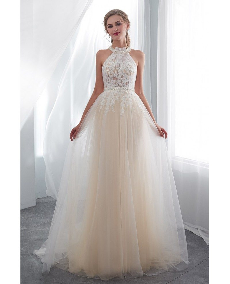 Chic Halter Champagne Long Tulle Wedding Dress With Pearls E011 Gemgrace Com