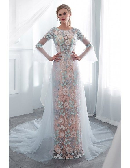 Different Colorful Flower Lace Long Party Dress With Sleeves