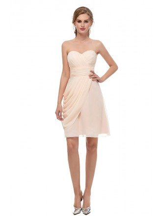 Cheap Strapless Champagne Short Chiffon Bridesmaid Dress