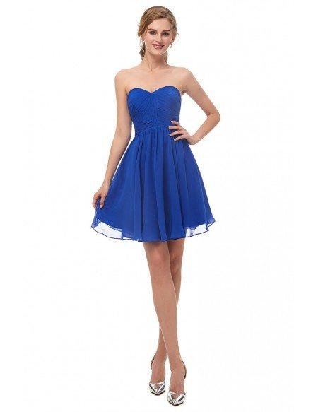 Royal Blue Chiffon Short Bridesmaid Dress Strapless
