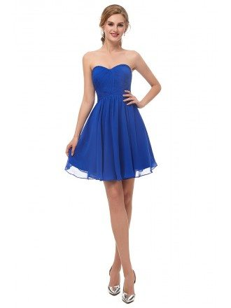 Royal Blue Chiffon Short Bridesmaid Dress Strapless