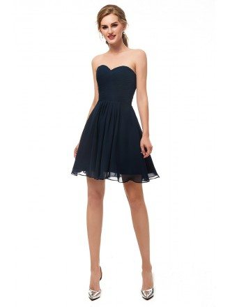 Strapless Simple Navy Blue Bridesmaid Dress In Short Length