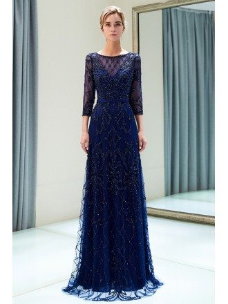 Modest All Beading Long Sleeved Formal Dress For Woman