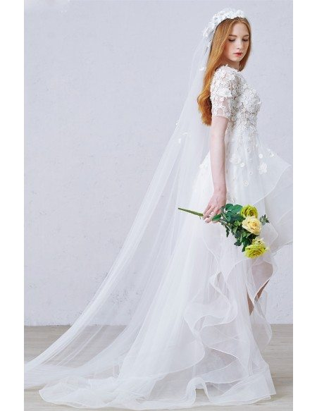 Stylish A-Line Scoop Neck Aymmetrical Tulle Wedding Dress With Appliques Lace