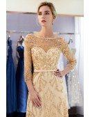Modest All Beading Long Sleeved Formal Dress For Woman