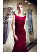 Mermaid Tight Scoop Sequined Burgundy Evening Dress With Different Back