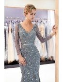 Fitted Mermaid Grey Lace Sequin Formal Dress With Long Sleeves