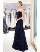 Strapless Sweetheart Dark Navy Cascading Ruffled Prom Dress With Pleated Bodice