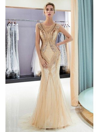2019 Fitted Gold Mermaid Long Tulle Prom Dress With Sequins