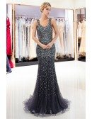Sparkly Luxury Gold Sequin Mermaid Prom Dress With Straps