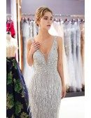 Fitted Grey Mermaid V Neck Prom Dress Sleeveless With Tassels