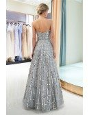 Shining Strapless Grey Long Formal Dress Unique For Woman 2019