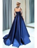 Navy Blue Long Sleeve Beaded Formal Evening Gown With Sheer Top
