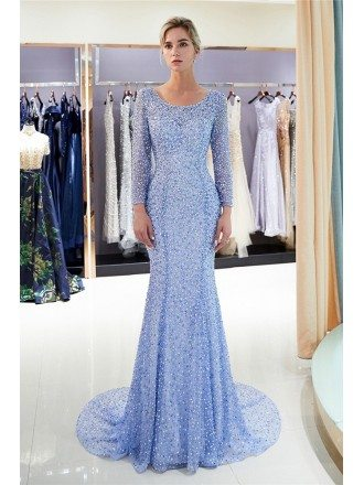 Incredible Sparkly All Beading Fitted Mermaid Formal Dress With Long Sleeves