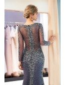 Luxury Sequin Sweetheart Tulle Formal Dress With Long Sleeves