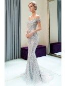 Luxury Sparkly Silver Mermaid Long Prom Dress With Off Shoulder Straps