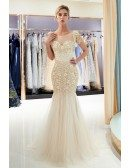Sparkly Grey Long Tulle Fitted Prom Dress With Sequin Bodice