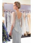 Silver Mermaid Long Beading Tulle Prom Dress With Cape Sleeves