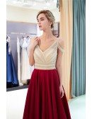 Cold Shoulder Burgundy Open Back Satin Evening Gown With All Beading Bodice