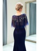 Fitted Mermaid Navy Blue Long Party Dress With Beading Cape Sleeves