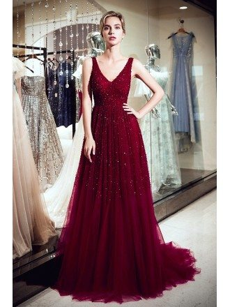 Elegant A Line V Neck Burgundy Sequin Evening Dress With Train