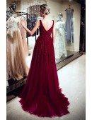 Elegant A Line V Neck Burgundy Sequin Evening Dress With Train