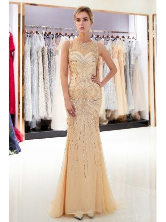 Beautiful Silver Sparkly Long Tight Beading Prom Dress