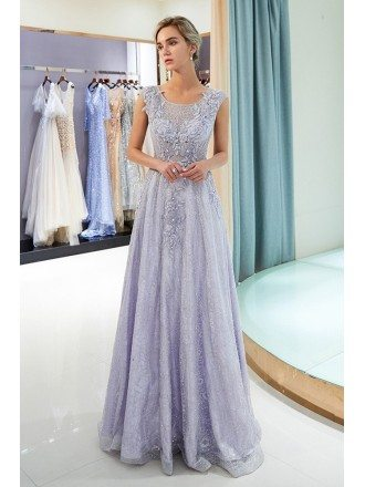 All Lace Beaded Lavender Long Prom Dress For Woman