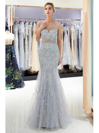 All Beading Grey Long Tight Mermaid Formal Dress With Feathers