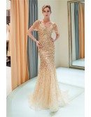 Extravagant Gold Sparkly Fitted Party Dress With Off Shoulder Sleeves
