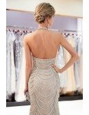 Different Grey Long Tulle Beaded Party Dress With Halter Neck