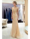 Glittering Gold Tight Mermaid Long Party Dress With Modest Top