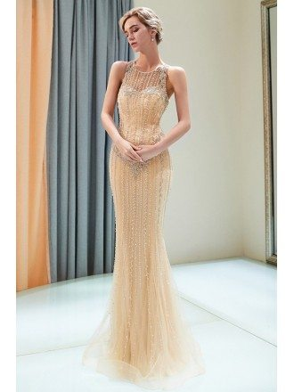 Slender Champagne Long Sequin Foraml Dress Sleeveless For Party Girls