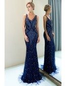 Navy Blue Slimming Long Beaded Evening Dress With Double V Neck