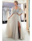 Elagant A Line Champange Beaded Sheer Prom Dress With Flare Sleeves