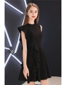Little Black Chic One Sleeve Short Party Dress