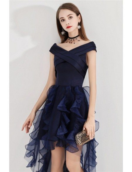 Navy Blue High Low Puffy Party Dress With Ruffles