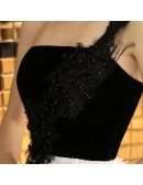 Elegant Black And White Party Dress Tea Length With One Shoulder