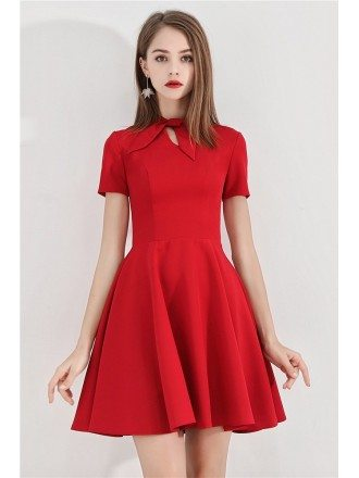 Retro Bow Knock Little Red Hoco Dress With Short Sleeves