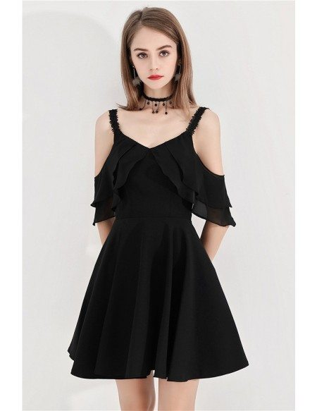 Chic Little Black Aline Semi Party Dress With Straps