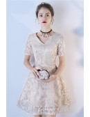 Modest Short Champagne Vneck Party Dress With Sleeves