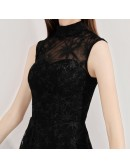 Retro Black Lace Tea Length Party Dress Sleeveless With High Neck